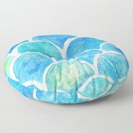 Mermaid Scales Turquoise Floor Pillow