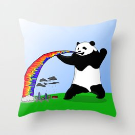 Panda Spitting Rainbow Throw Pillow