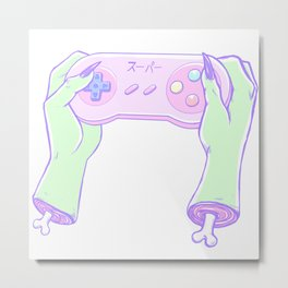 Zombie Gamer Girl Metal Print