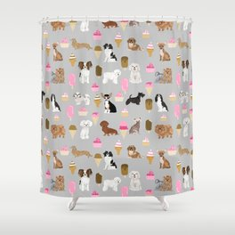 Small Dog Breeds with ice creams summer fun for the pet lover dog person in your life Shower Curtain