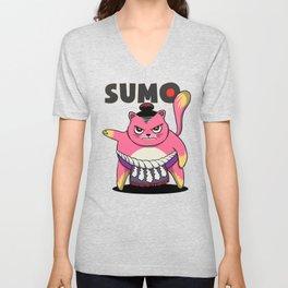 Sumo Wrestler Cat Yokozuna ネコ Neko Pink Unisex V-Neck