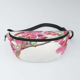 Pink Plum Blossoms with white background Fanny Pack