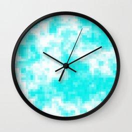 Bubblegum blue cloud pixels Wall Clock