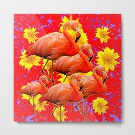 YELLOW FLOWERS & 5 RED  SAFFRON FLAMINGOS ART Metal Print
