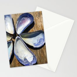 Blue Seashell Flower Stationery Cards