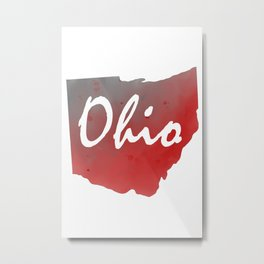 Ohio Map Watercolor Text Print Metal Print