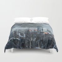sci fi Duvet Covers featuring Sci-Fi City by Michael Lenehan