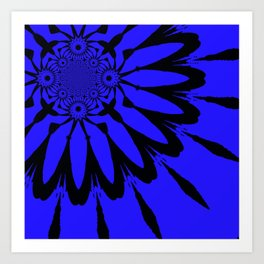 The modern flower Royal Blue Art Print