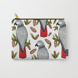 African Grey on a Fir Branch in Watercolor Carry-All Pouch