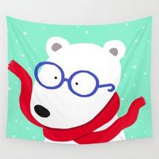 Hipster Polar Bear Wall Tapestry