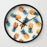 crystals Wall Clocks featuring Pineapples + Crystals  by micklyn