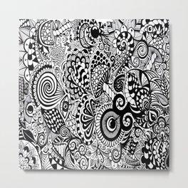 Mushy Madness doodle art Black and White Metal Print