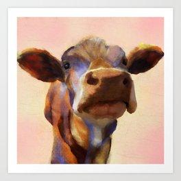 Cora the cow, cow art, cow, farm, animal Art Print