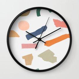 Mix of color shapes happy artwork Wall Clock