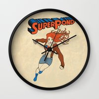 amy pond Wall Clocks featuring SUPER POND by sophiedoodle