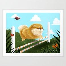 Pomeranian JUMP Art Print