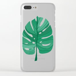 Monstera Leaf Tropical Illustration Clear iPhone Case