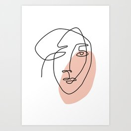 One Line Art Face Sketch Art Print
