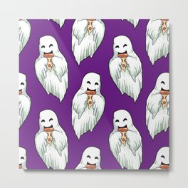 ghosts eating pizza pattern Metal Print
