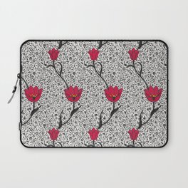 Art Nouveau Tulip Damask, Grey / Gray and Red Laptop Sleeve