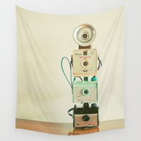 cameras Wall Tapestries featuring Tower of Cameras by Cassia Beck