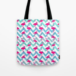 Go Flamingo! Tropical Pink Neon Flamingos Teal Glitter Chevron Tote Bag