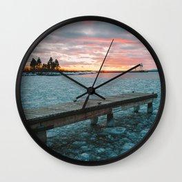 Icy Harbor Sunset Wall Clock