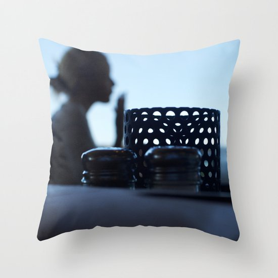 breakfast at Tiffany's in blue Throw Pillow