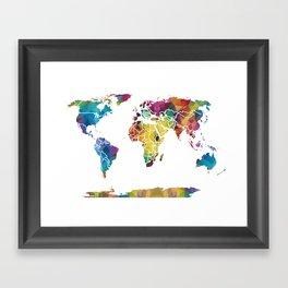 Geometric World Map Framed Art Print