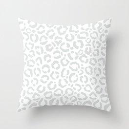 Elegant White Gray Leopard Cheetah Animal Print Throw Pillow