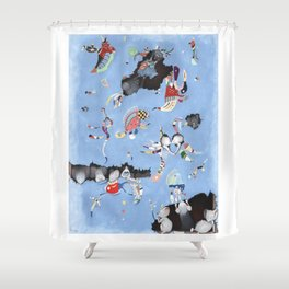 Mice eat a Kandinsky Shower Curtain