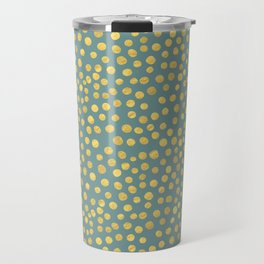 DOT PATTERN - blue and gold Travel Mug