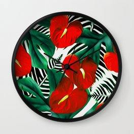 Anthurium red Wall Clock