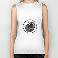 badger Biker Tanks featuring Badger by Natalie Toms Illustration