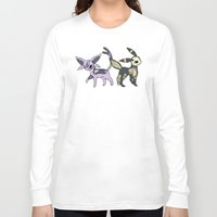 umbreon Long Sleeve T-shirts featuring Espeon & Umbreon Anatomy by Logan Niblock