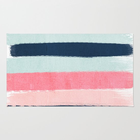 Striped Painted Coral Mint Navy Pink Pattern Stripes