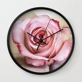 Pink rose and golden ribbon Wall Clock