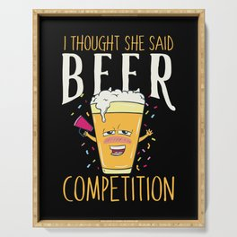 I thought she said BEER COMPETITION - Funny Cheerleader Dad Gift Serving Tray