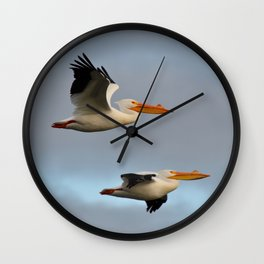 white pelican pair Wall Clock