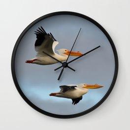 white pelican pair Wall Clock