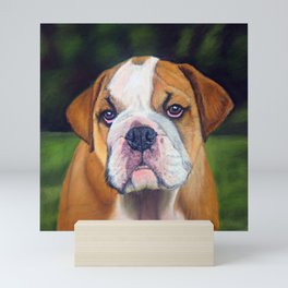 Puppy Bulldog Pastel Pencil Drawing Mini Art Print
