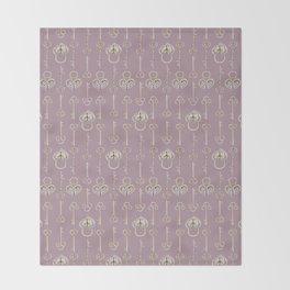 Purple mauve old padlocks and keys vintage style pattern Throw Blanket