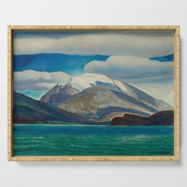 Snowcapped Mountain by the Seacoast nautical landscape painting 1924 by Rockwell Kent Serving Tray