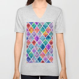Colorful Watercolor Moroccan Pattern - I Unisex V-Neck
