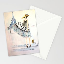 A Girl, Her Dress, And Her Yorkie Stationery Cards