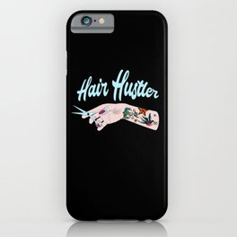 Hair Hustler Typeface Design With Scissors iPhone Case