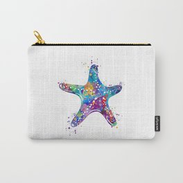 Starfish Art Colorful Blue Purple Watercolor Gift Ocean Decor Nature Art Sea Life Art Carry-All Pouch
