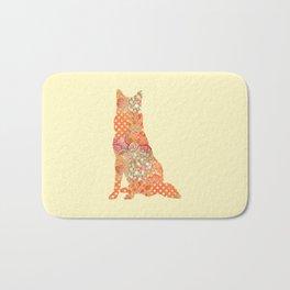 Belgian Shepherd Dog Vintage Floral Pattern Orange Cream Shabby Chic Bath Mat