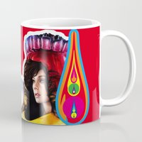 bjork Mugs featuring BJORK - VOLTA by Denda Reloaded
