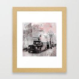 Vintage England London Britain Illustration Pastel Colors Framed Art Print